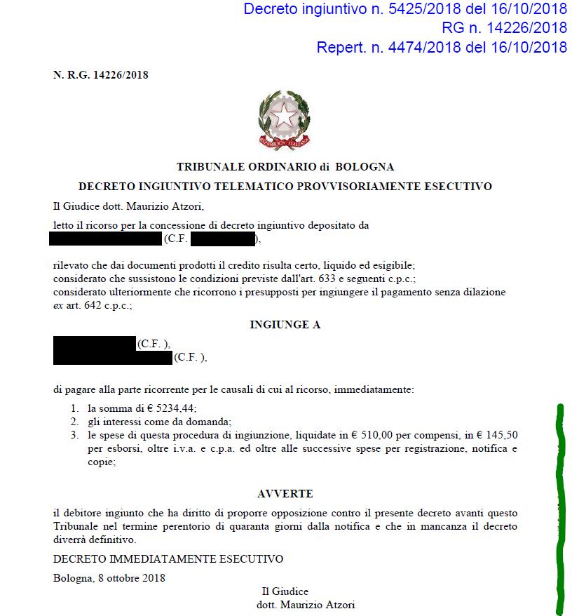 avvocato per decreto ingiutivo a bologna 1