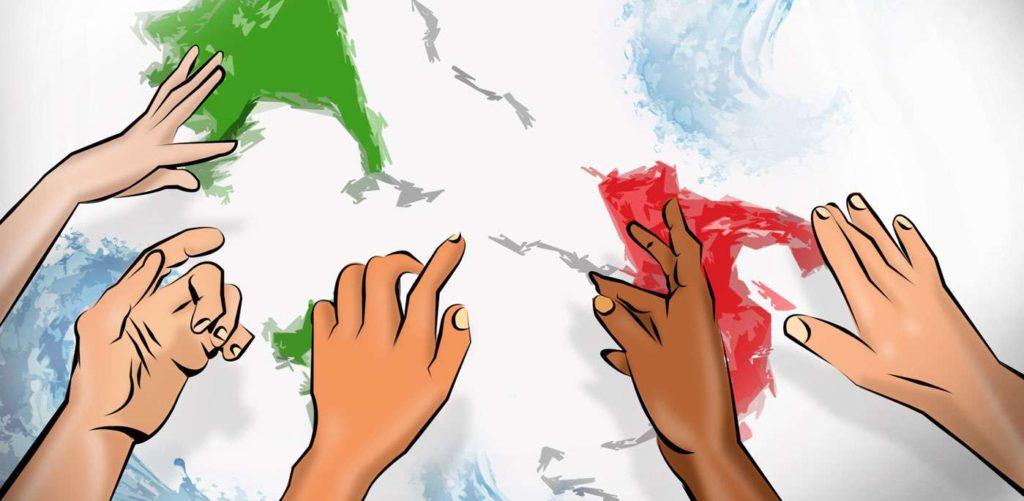 disegno con mani dei discendenti degli emigranti italiani